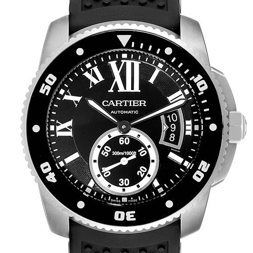 Cartier Calibre Divers Black Rubber Strap Steel Mens Watch W7100056