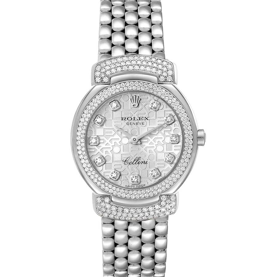 Rolex Cellini Cellissima White Gold Silver Dial Diamond Ladies Watch 6673 SwissWatchExpo