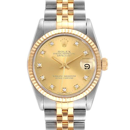 Photo of Rolex Datejust Midsize 31 Steel Yellow Gold Diamond Ladies Watch 68273 Box Papers