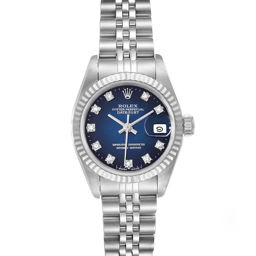 Rolex Datejust Steel White Gold Blue Vignette Diamond Ladies Watch 69174 SwissWatchExpo
