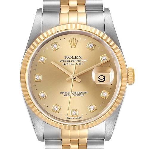 Photo of Rolex Datejust Steel Yellow Gold Champagne Diamond Dial Watch 16233