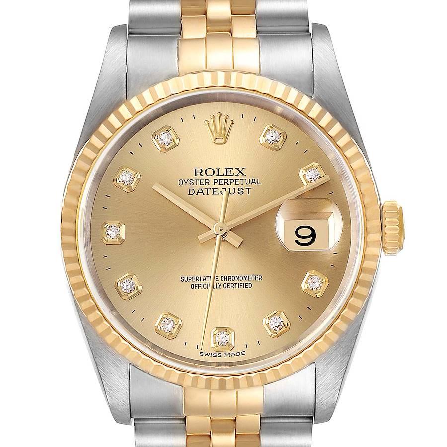 Rolex Datejust Steel Yellow Gold Champagne Diamond Dial Watch 16233 SwissWatchExpo