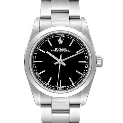 Photo of Rolex Midsize 31 Black Baton Dial Steel Ladies Watch 77080 Unworn