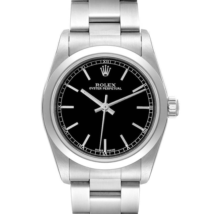 Rolex Midsize 31 Black Baton Dial Steel Ladies Watch 77080 Unworn SwissWatchExpo