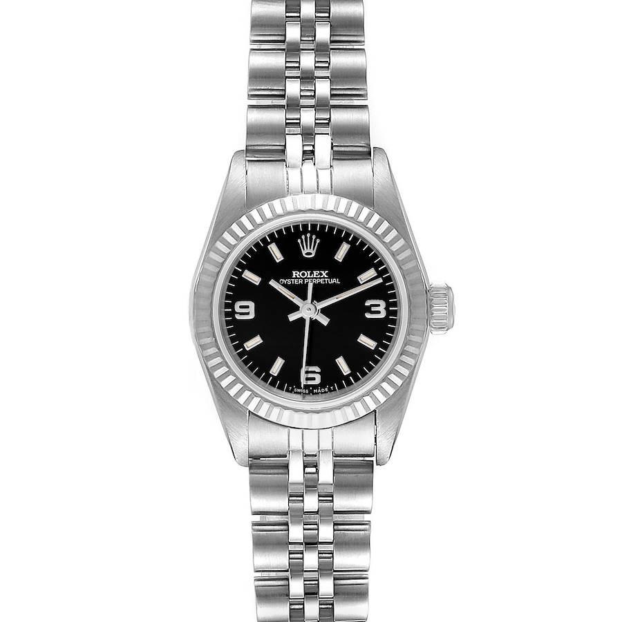 Rolex Non-Date Steel 18k White Gold Black Dial Watch 67194 Box Service Card SwissWatchExpo