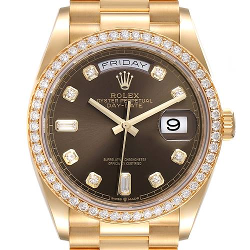 Photo of Rolex President Day Date Yellow Gold Diamond Mens Watch 128348 Unworn