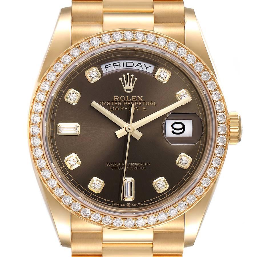 Rolex President Day Date Yellow Gold Diamond Mens Watch 128348 Unworn SwissWatchExpo