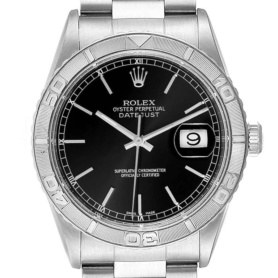 Rolex Turnograph Datejust Steel White Gold Black Dial Watch 16264 Box Papers SwissWatchExpo