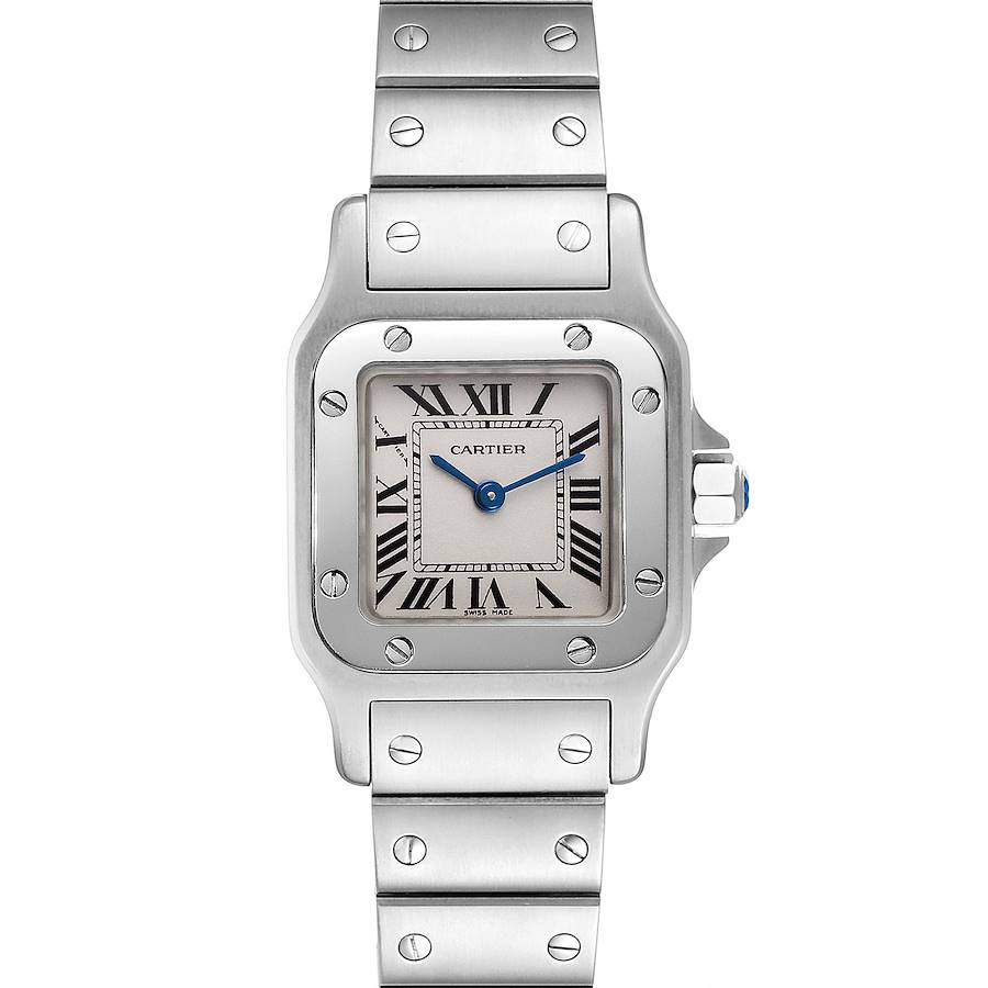 Cartier Santos Galbee Silver Dial Small Steel Ladies Watch W20056D6 Box Papers SwissWatchExpo