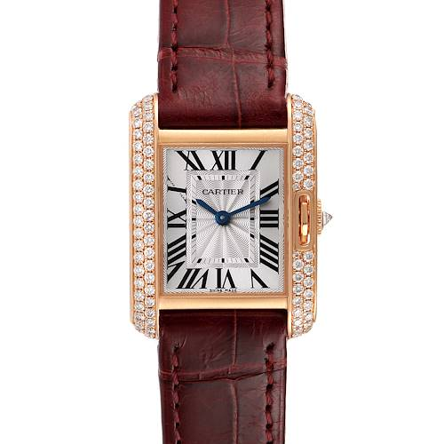 Photo of Cartier Tank Anglaise Rose Gold Silver Dial Diamond Ladies Watch WT100013