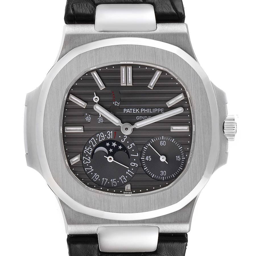 Patek Philippe Nautilus White Gold Moonphase Mens Watch 5712G Box Papers SwissWatchExpo