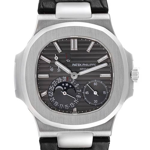Photo of Patek Philippe Nautilus White Gold Moonphase Mens Watch 5712G Box Papers
