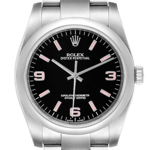 Photo of Rolex Oyster Perpetual 36 Pink Baton Black Dial Steel Unisex Watch 116000
