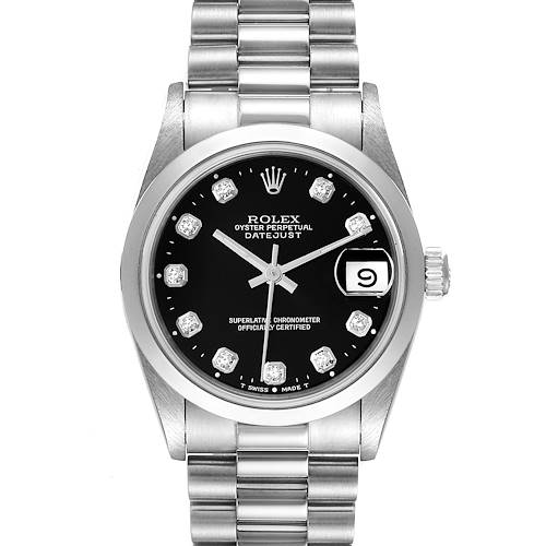 Photo of Rolex President Datejust Midsize Platinum Black Diamond Dial Watch 68246