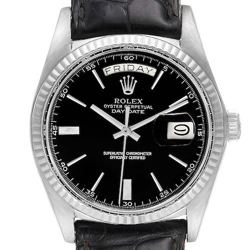Photo of Rolex President Day-Date Vintage White Gold Black Strap Mens Watch 1803
