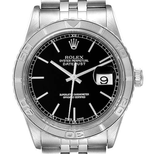 Photo of Rolex Turnograph Datejust Steel White Gold Black Dial Watch 16264 Box Papers