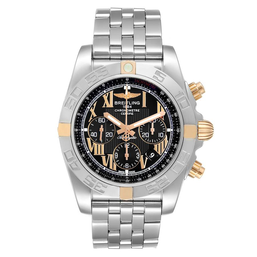 Breitling Chronomat Black Dial Steel Rose Gold Mens Watch IB0110 SwissWatchExpo