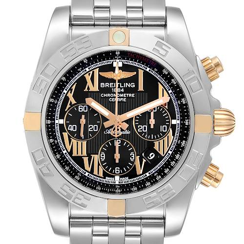 Photo of Breitling Chronomat Black Dial Steel Rose Gold Mens Watch IB0110