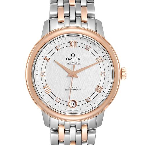 Omega DeVille Prestige Steel Rose Gold Diamond Watch 424.20.33.20.52.003
