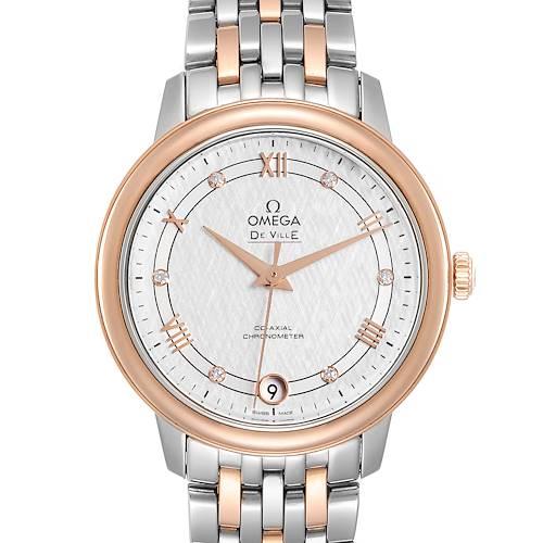 Omega DeVille Prestige Steel Rose Gold Diamond Watch 424.20.33.20.52.003