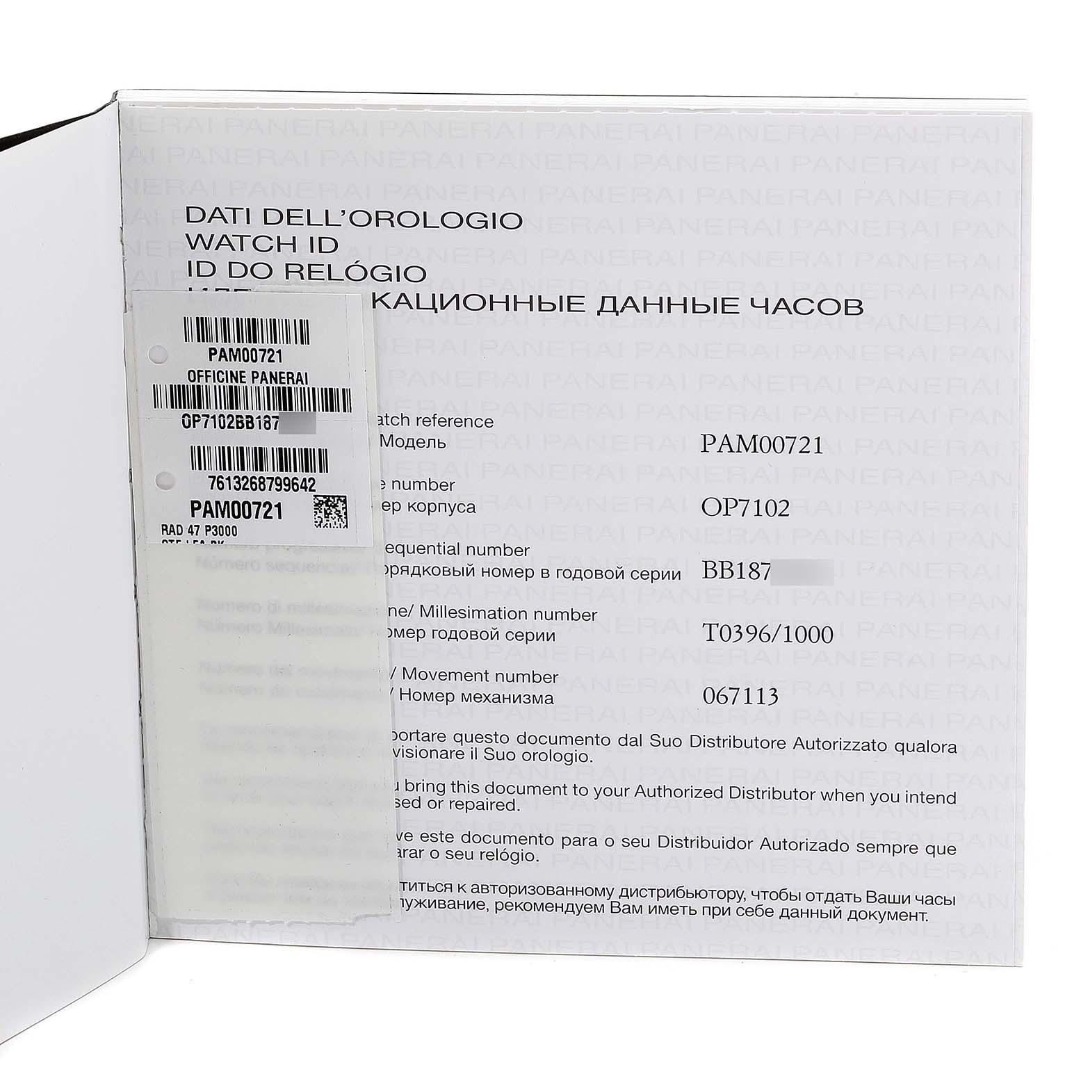 Panerai Radiomir 47mm 3 Days Steel Mens Watch PAM00721 Box Papers SwissWatchExpo