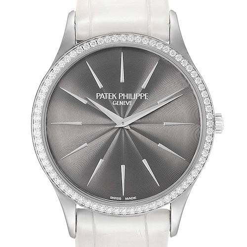 Patek Philippe Calatrava White Gold Grey Dial Diamond Ladies Watch 4898