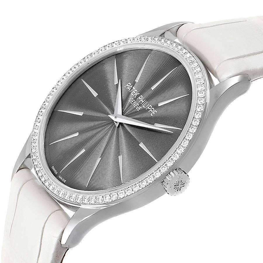 Patek Philippe Calatrava White Gold Grey Dial Diamond Ladies Watch 4898 SwissWatchExpo