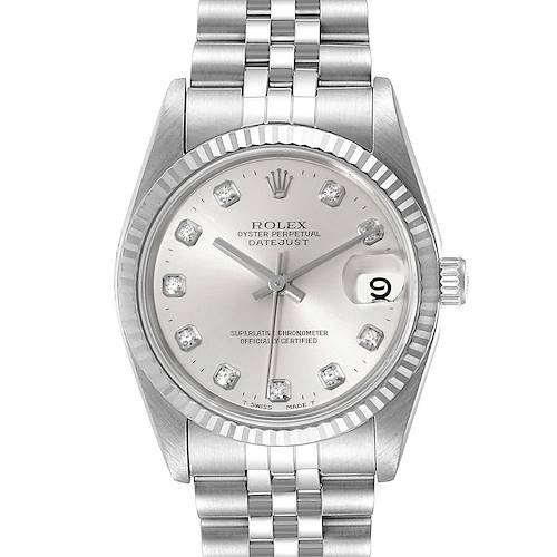 Photo of Rolex Datejust Midsize Steel White Gold Diamond Dial Ladies Watch 68274