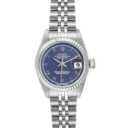 Photo of Rolex Datejust Steel White Gold Blue Roman Dial Ladies Watch 69174