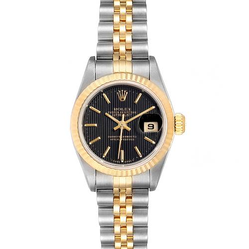 Photo of Rolex Datejust Steel Yellow Gold Black Dial Ladies Watch 69173 Box Papers