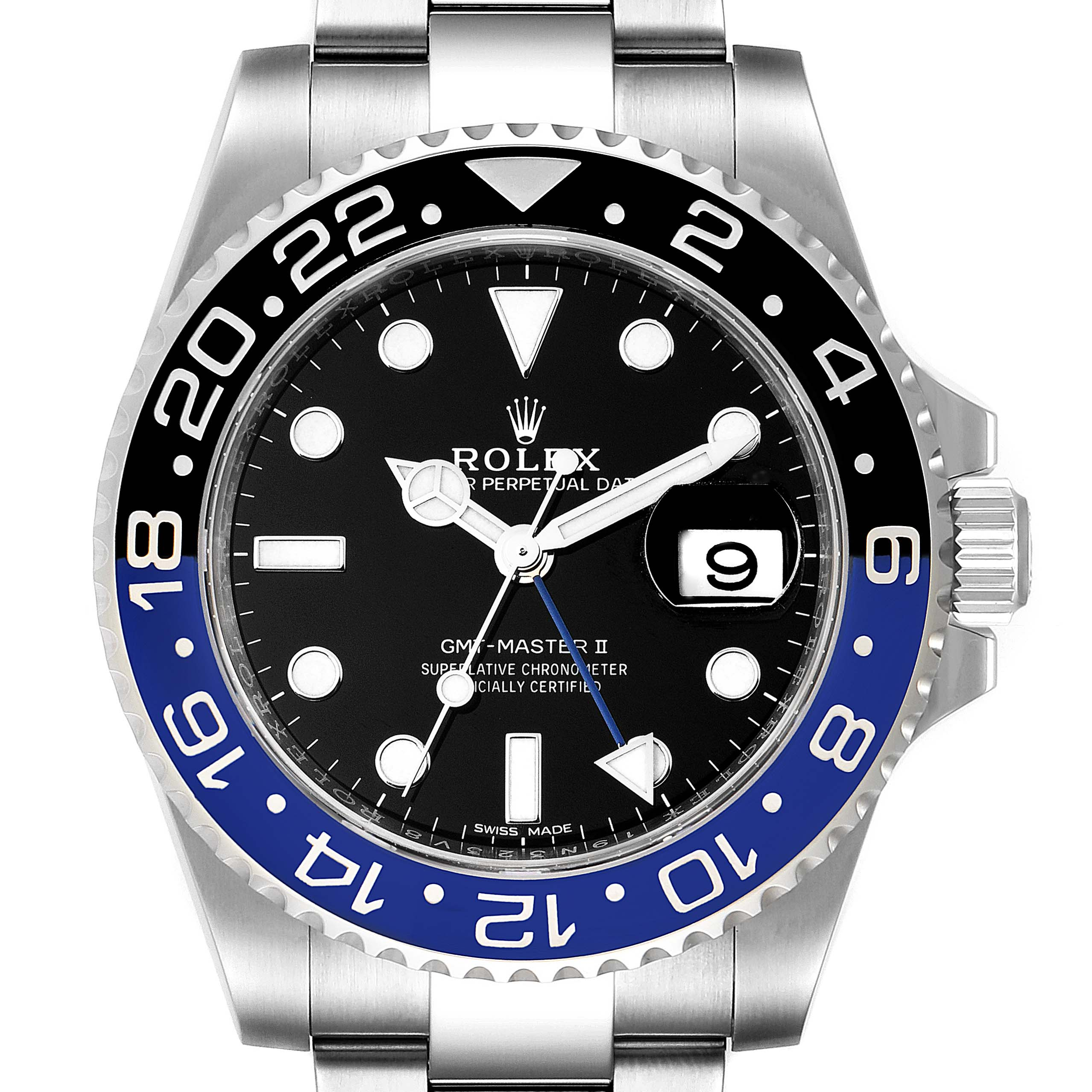 Rolex GMT Master II Batman Blue Black Ceramic Bezel Steel Watch 116710 Box Paper SwissWatchExpo