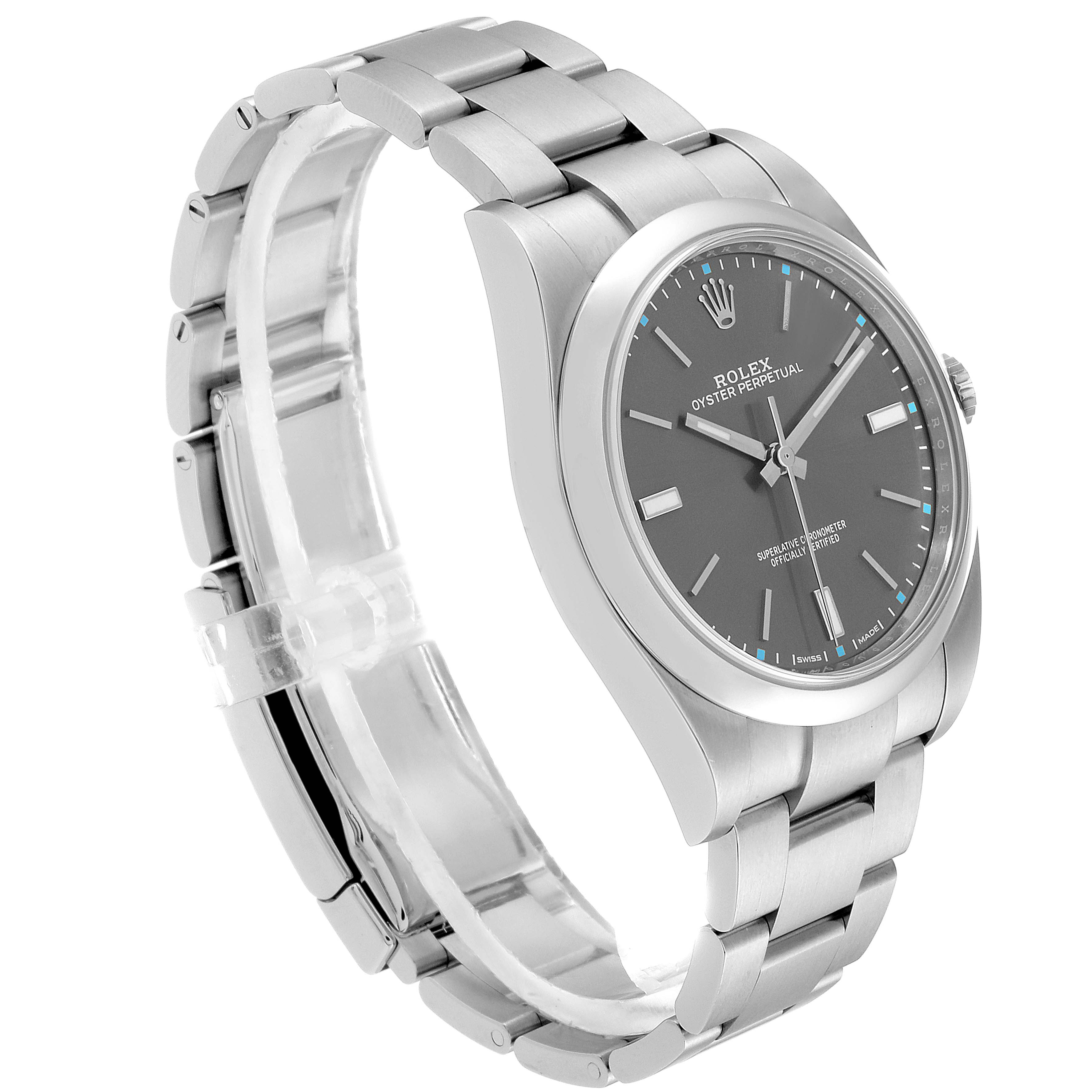 Rolex Oyster Perpetual 39 Rhodium Dial Steel Mens Watch 114300 Box Card SwissWatchExpo