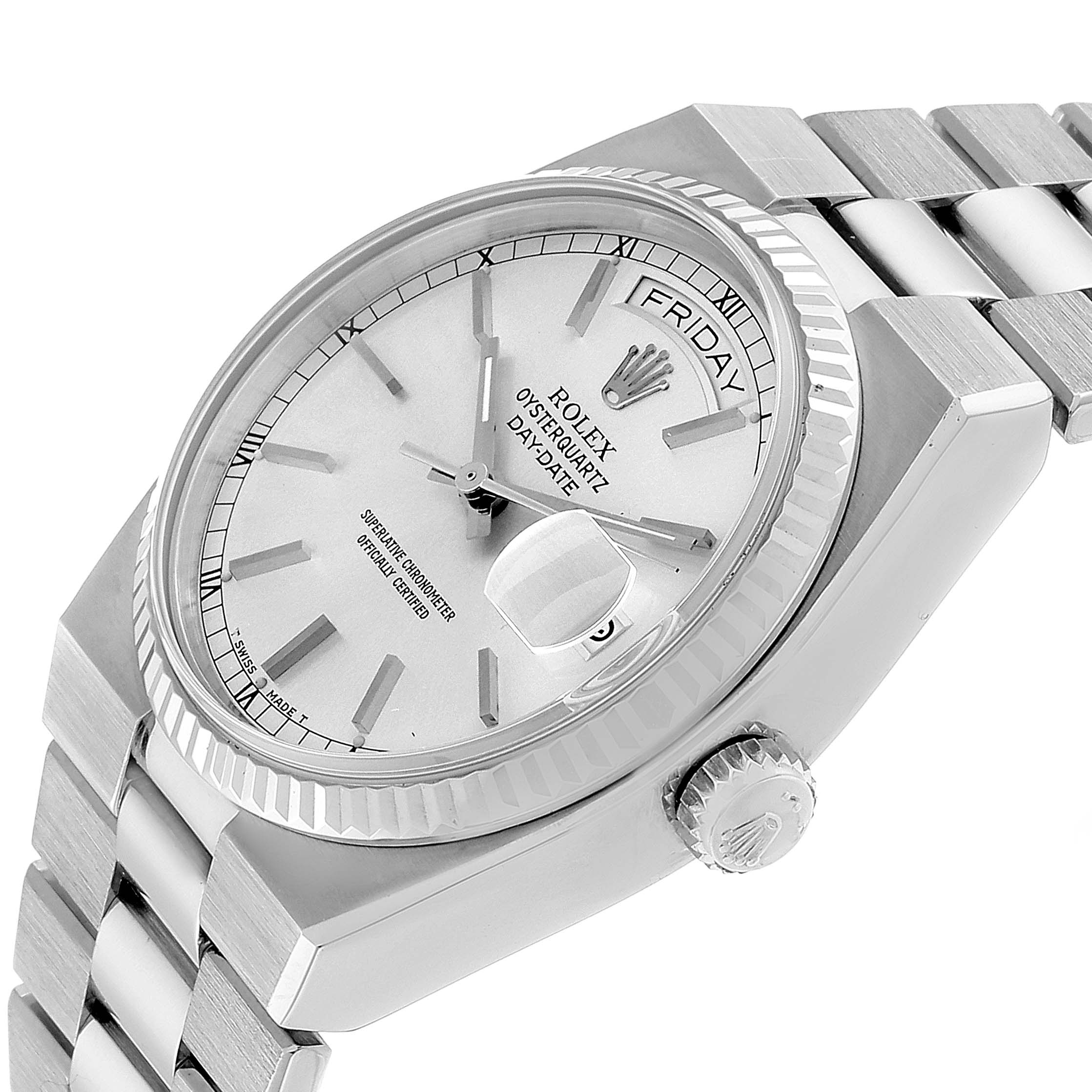 Rolex Oysterquartz President Day-Date White Gold Silver Dial Men's Watch 19019 SwissWatchExpo