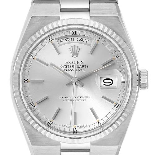 Photo of Rolex Oysterquartz President Day-Date White Gold Silver Dial Men's Watch 19019