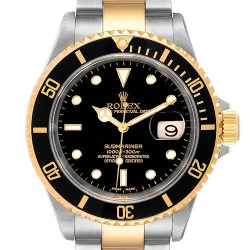 Photo of Rolex Submariner Black Dial Bezel Steel Yellow Gold Mens Watch 16613 Box Papers