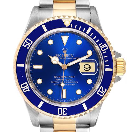 Photo of Rolex Submariner Purple Blue Dial Steel Yellow Gold Mens Watch 16613 Box Papers