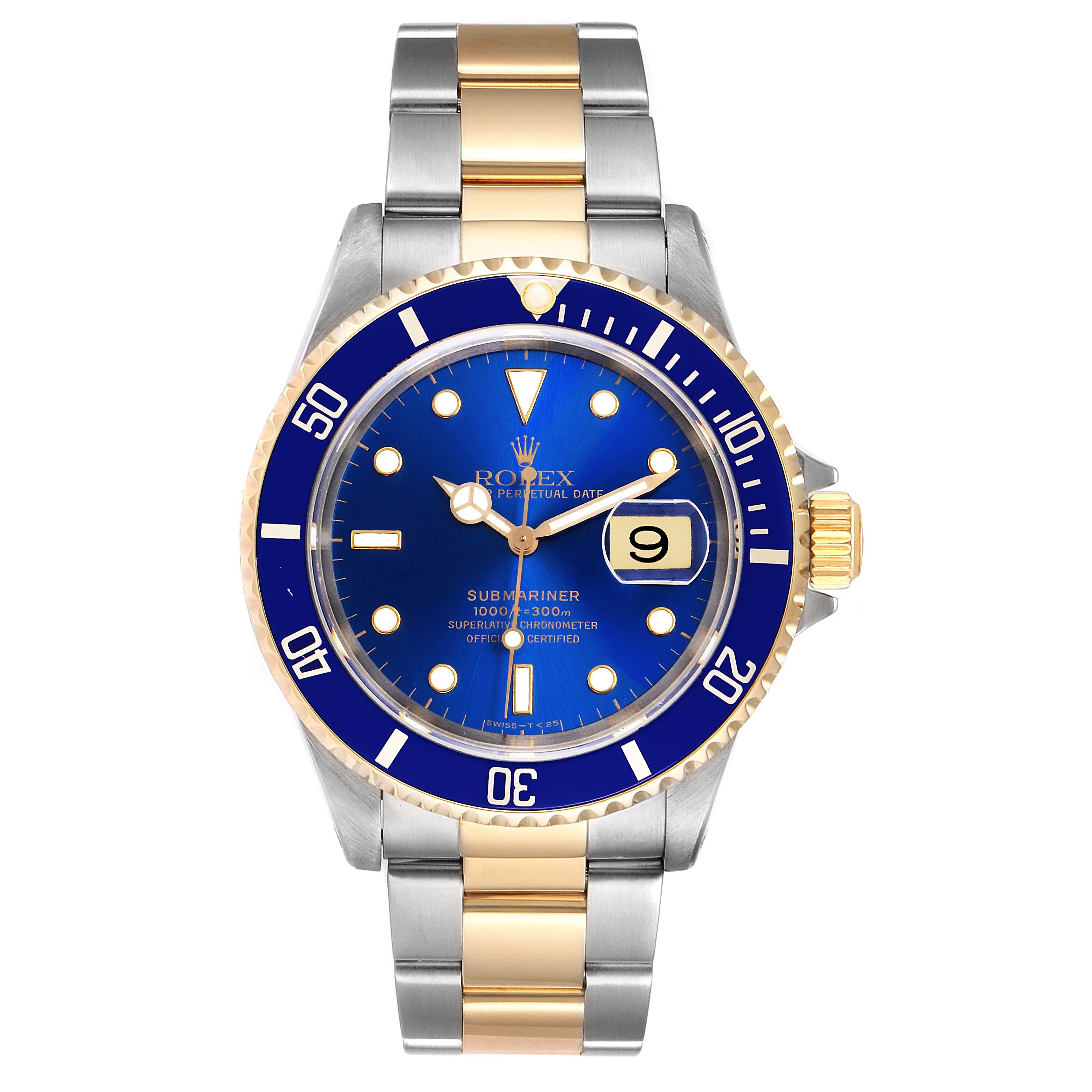 Rolex Submariner Purple Blue Dial Steel Yellow Gold Mens Watch 16613 Box Papers SwissWatchExpo