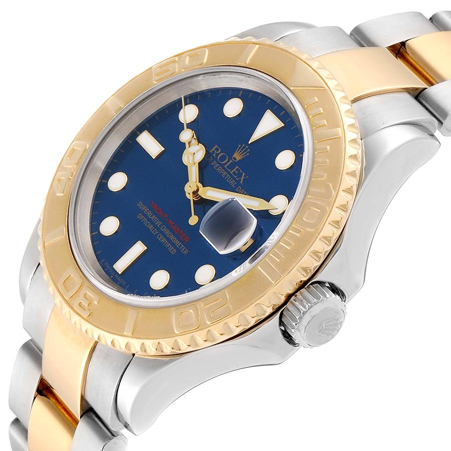 Rolex Yachtmaster 40mm Steel Yellow Gold Blue Dial Mens Watch 16623 SwissWatchExpo