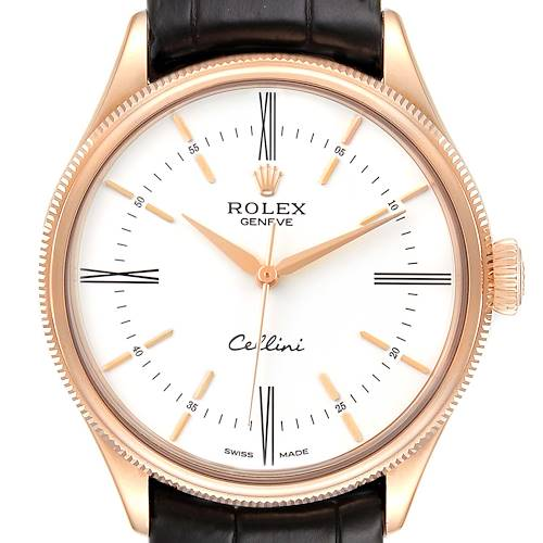 Photo of Rolex Cellini Time 18K EveRose Gold White Dial Mens Watch 50505 Unworn