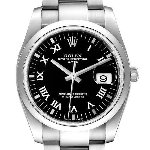 Photo of Rolex Date Black Dial Oyster Bracelet Steel Mens Watch 115200