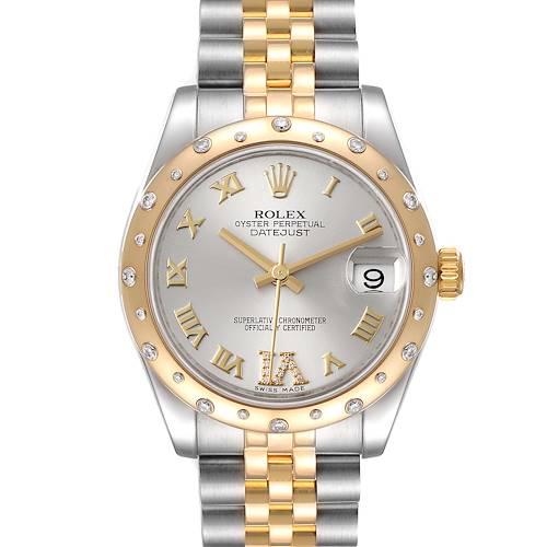 Photo of Rolex Datejust 31 Midsize Steel 18K Yellow Gold Diamond Watch 178343 Box Card