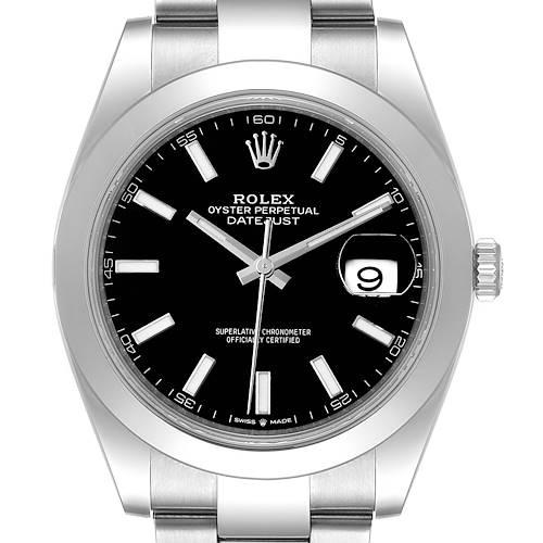 Photo of Rolex Datejust 41 Black Dial Steel Oyster Bracelet Watch 126300 Box Card