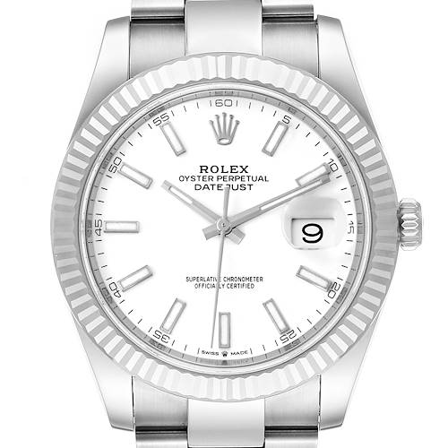 Photo of Rolex Datejust 41 Steel White Gold Oyster Bracelet Mens Watch 126334 Box Card