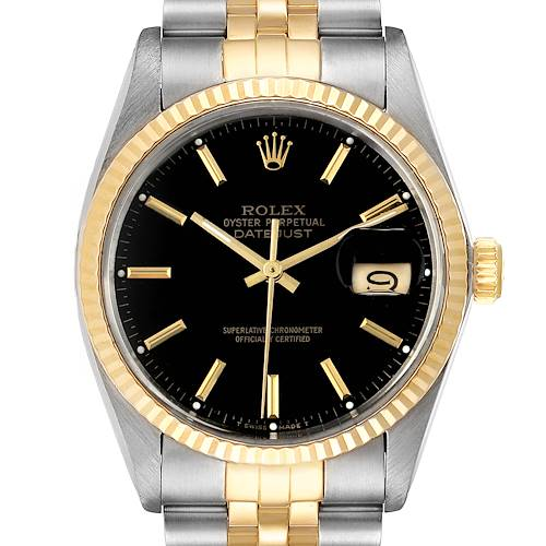 Photo of Rolex Datejust Steel Yellow Gold Black Dial Vintage Mens Watch 16013