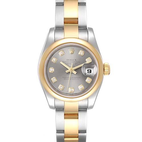 Photo of Rolex Datejust Steel Yellow Gold Diamond Ladies Watch 179163 Box Card