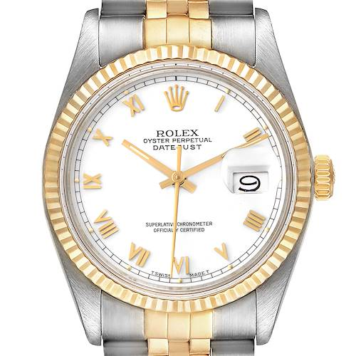 Photo of Rolex Datejust Steel Yellow Gold White Dial Vintage Mens Watch 16013 Box Papers