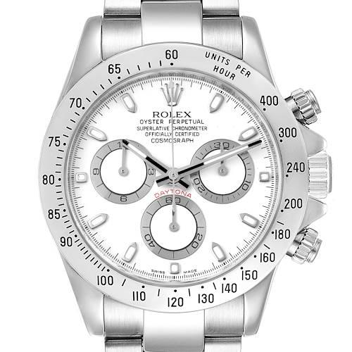 Photo of Rolex Daytona White Dial Chronograph Steel Mens Watch 116520 Box Card