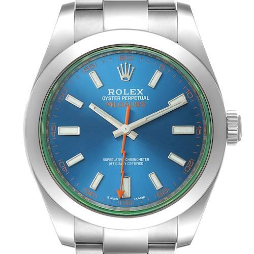 Photo of Rolex Milgauss Blue Dial Green Crystal Steel Mens Watch 116400