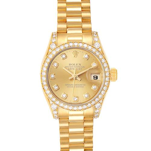 Photo of Rolex President Yellow Gold Diamond Dial Bezel Lugs Watch 179158 Box Papers
