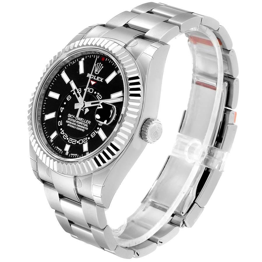 Rolex Sky-Dweller Black Dial Steel White Gold Mens Watch 326934 Unworn SwissWatchExpo